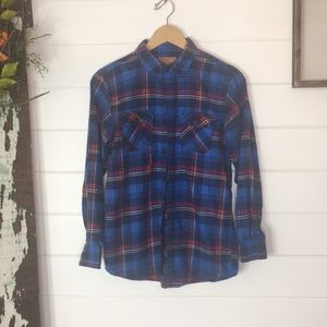 Boys red camel flannel button up shirt